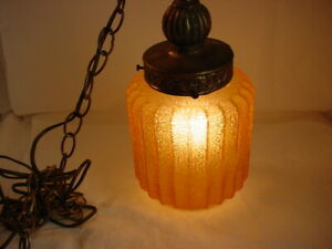 Vtg Hanging Light Fixture Ornate Frosted Amber Glass 3 Foot Chandelier Chain