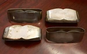 4 Pc Vint Mid Century Mexico 925 Sterling Silver Napkin Ring Holder Set 2 2 Vgc