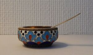 Russian Silver 916 Salt Cellar Sowjet Russia Enamel Soon Gold Plated Old Blue