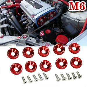 10x M6 Red Pwjdm Billet Aluminum Fender Bumper Washer Bolt Engine Bay Decor Trim