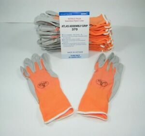 Atlas 370 Showa Work Gloves Nitrile Rubber Palms 12 Pair Medium Mango