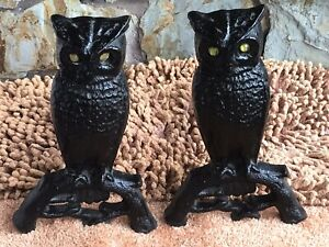 Pair Of Vintage Antique Cast Iron Owl Fireplace Andrions Yellow Glass Eyes