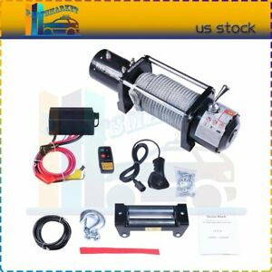 10000lb Winch 12v 80 3 8 Steel Cable Rope Off Road Pickup 4 Way Roller Fairlead