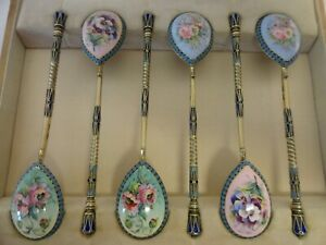 Set Of 6 Antique Russian 84 Silver En Plein Enamel Spoons By I Saltykov In Box