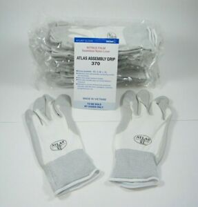 Atlas 370 Showa Work Gloves Nitrile Rubber Palms 12 Pair Xl White