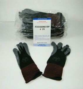 Atlas 370 Showa Work Gloves Nitrile Rubber Palms 12 Pair Small Black