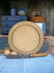 Antique Carved Round Wood Bread Board And Knife Original Surface Free Shipping