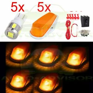 5x Cab Marker Amber Cover base 194 White Led Bulbs Universal Wiring