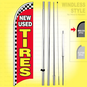 New Used Tires Windless Swooper Flag Kit 15 Feather Banner Sign Rb h