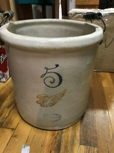 Antique Redwing 5 Gal Crock With Handles Wkw
