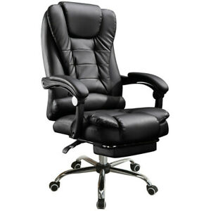 Office Gaming Chair Racing Ergonomic Pu Leather High Back Computer Home Black