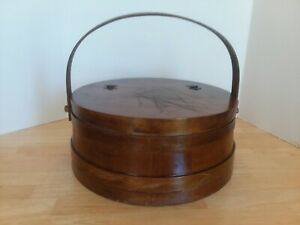 Vintage Large Wooden Sewing Box Hinged Lid Bentwood Handle