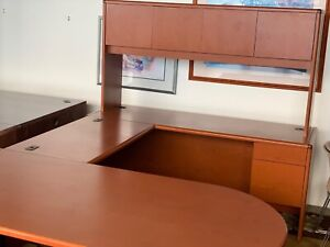Executive U shape Desk By Hon Office Furniture In Cherry Color Laminate