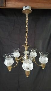 Antique Vintage Chandelier Brass Hanging Light Fixture