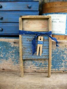 Antique Wood Tin Toy Washboard Original Blue Paint Free Shipping
