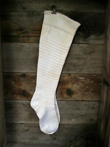 Primitive Antique Ladies Heavy Cotton Stockings Initials I W 9 Free Shipping