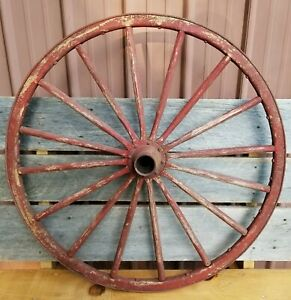 Antique 34 Amish Style Buggy Carriage Cart Red Wooden Wheel W Steel Rim Vintage
