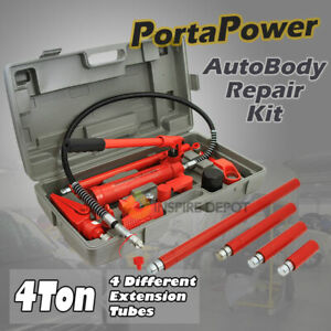 4 Ton Porta Power Hydraulic Jack Air Pump Lift Ram Body Frame Repair Tool Kit