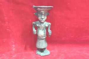 Brass Statue Old Tribal Man Figure Handcrafted Antique Collectible Pw 97
