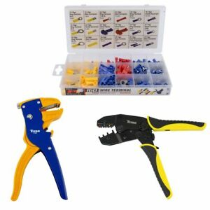 Ratcheting Wire Terminal Crimper Auto Stripper Terminal Set Electrical Tool