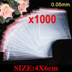 1000pcs 4x6cm K Clear Poly Bags Reclosable Plastic Jewelry Baggies