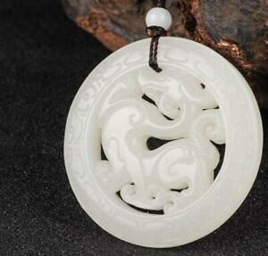 Chinese Natural Hand Carved White Jade Pi Xiu Hollow Out Pendant