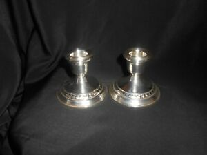 Sterling Silver Candle Holders Weighted Candlesticks Home Decor Vintage Pair