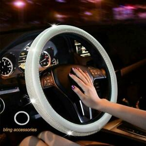 New Diamond Leather Steering Wheel Cover With Bling Crystal Rhinestones 15 Inch