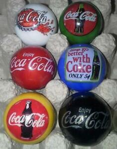 Super Nice Lot of 6 Coca Cola Advertising Glass Marbles Lot 2