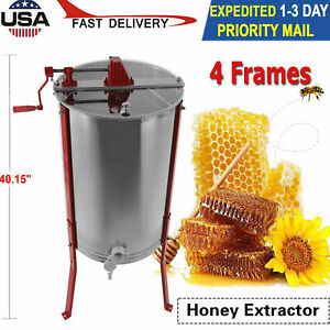 4 Frame Stainless Steel Honey Extractor Manual Beekeeping Equipment Bee Hive Usa