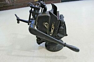 Antique Cast Iron Tabletop Letter Press Printing Press Working Rare