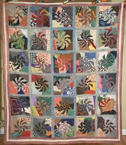 Dazzling Vintage Pinwheel Crazy Antique Quilt Signed Dated Dense Embroidery