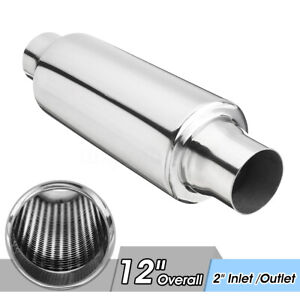 2 Inlet Outlet Universal Car Exhaust Turbine Muffler Resonator 12 Overall Us