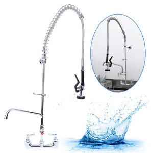 12 Commercial Pre rinse Faucet Kitchen Restaurant Wall Mount Pull Down Faucet