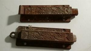 2 Antique Ornate Metal Door Bold 4 3 4 Long Latches