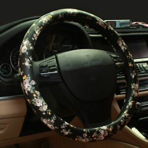 Vintage Leather Steering Wheel Cover Flower Printing Car Covers Girl Accessories