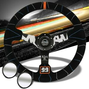 Black Suede Mohan Inspired 350mm Nrg Rst 036mb s kmr Steering Wheel 2 Mirror