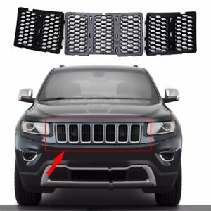 3pcs Black Front Grille Inserts Trim Mesh Kit For Jeep Grand Cherokee 2014 2016