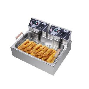 5000w 12 7 Qt Electric Deep Fryer Large Tank Frying Cooking Machine Commercial