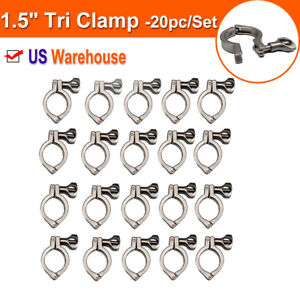 1 5 Tri Clamp Clover For Stainless Steel Sanitary Fittings Single Pin 20pc pack