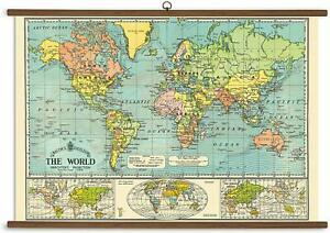 Cavallini Papers World Map Vintage Heavy Weight Home School Wall Art Chart Print