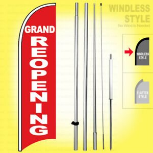 Grand Re opening Windless Swooper Flag Kit 15 Feather Banner Sign Rb h