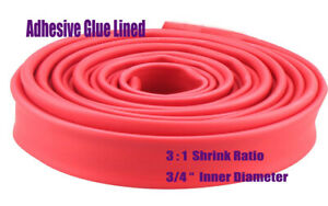 50ft 3 4 Diameter 3 1 Red Polyolefin Heat Shrink Tubing Adhesive Glue Lined