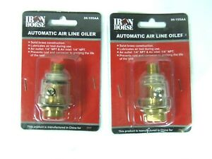 Set Of 2 Wood Industries Iron Horse Automatic Brass Air Line Oiler Ih 155aa