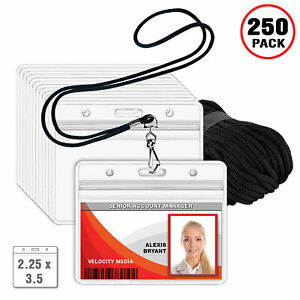 Mifflin 2 25 x3 5 Horizontal Id Card Holder With Black Woven Lanyards 250 Pack