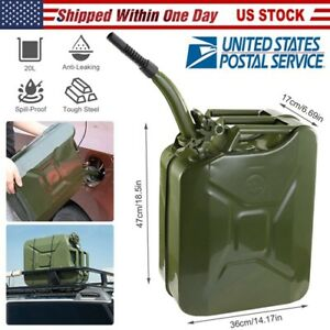 Heavy Duty Steel 20l Gas Can 5 Gallon Spill Proof Gasoline Fuel Jerry Can Us