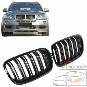 Gloss Black Double Slat Front Kidney Grille Grill For Bmw E70 X5 E71 X6 2007 13