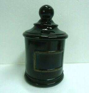 Vintage Black Glass Jar Apothecary Pharmacy Drugstore With Lid Jv Co Inc