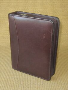 Compact Franklin Covey quest Burgundy Leather 1 5 Rings Zip Planner binder