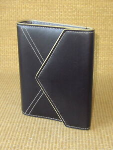 Compact Franklin Covey Black Sim Leather 1 Rings Open Planner binder Clutch